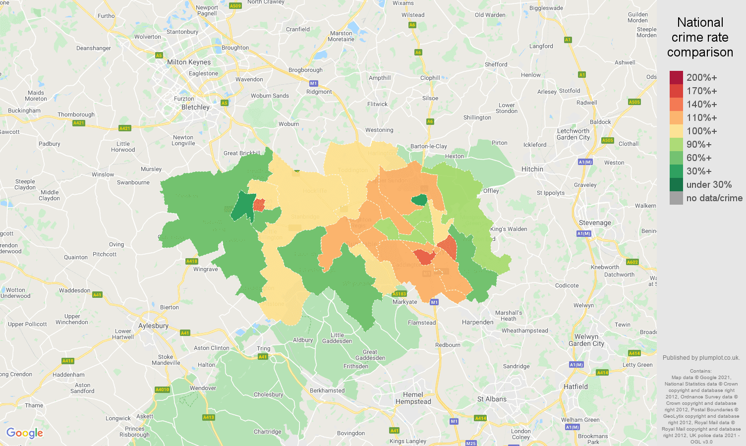 Luton criminal damage and arson crime rate comparison map