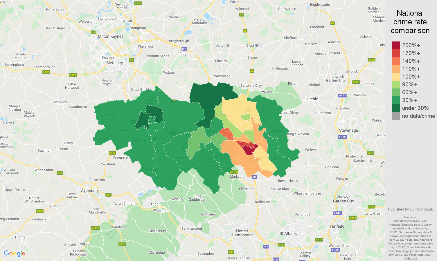 Luton drugs crime rate comparison map