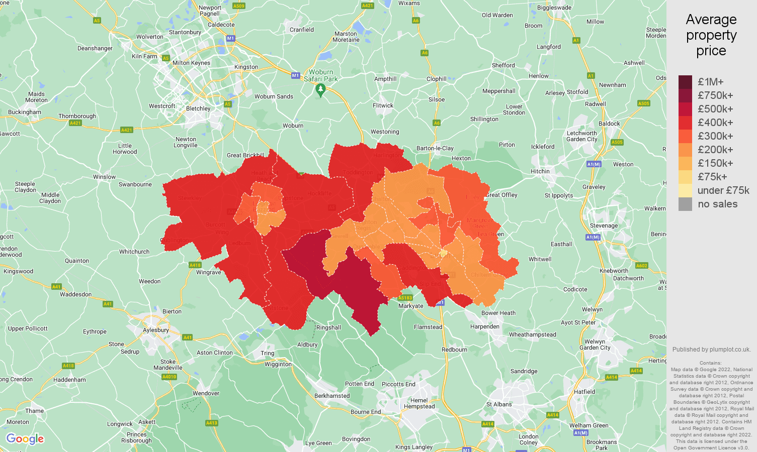 Luton house prices map