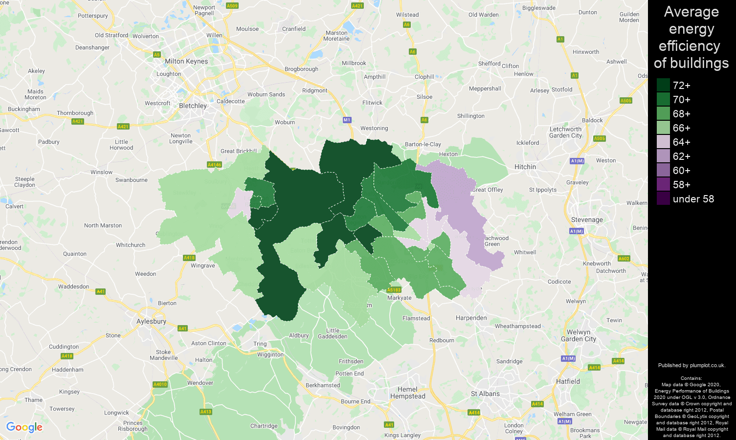 Luton map of energy efficiency of flats