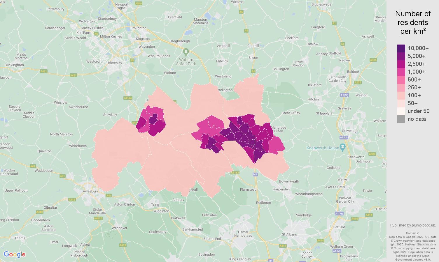 Luton population density map