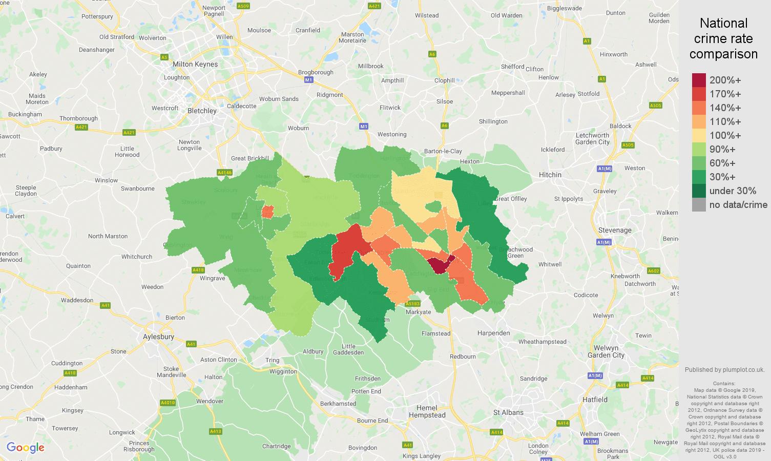 Luton public order crime rate comparison map