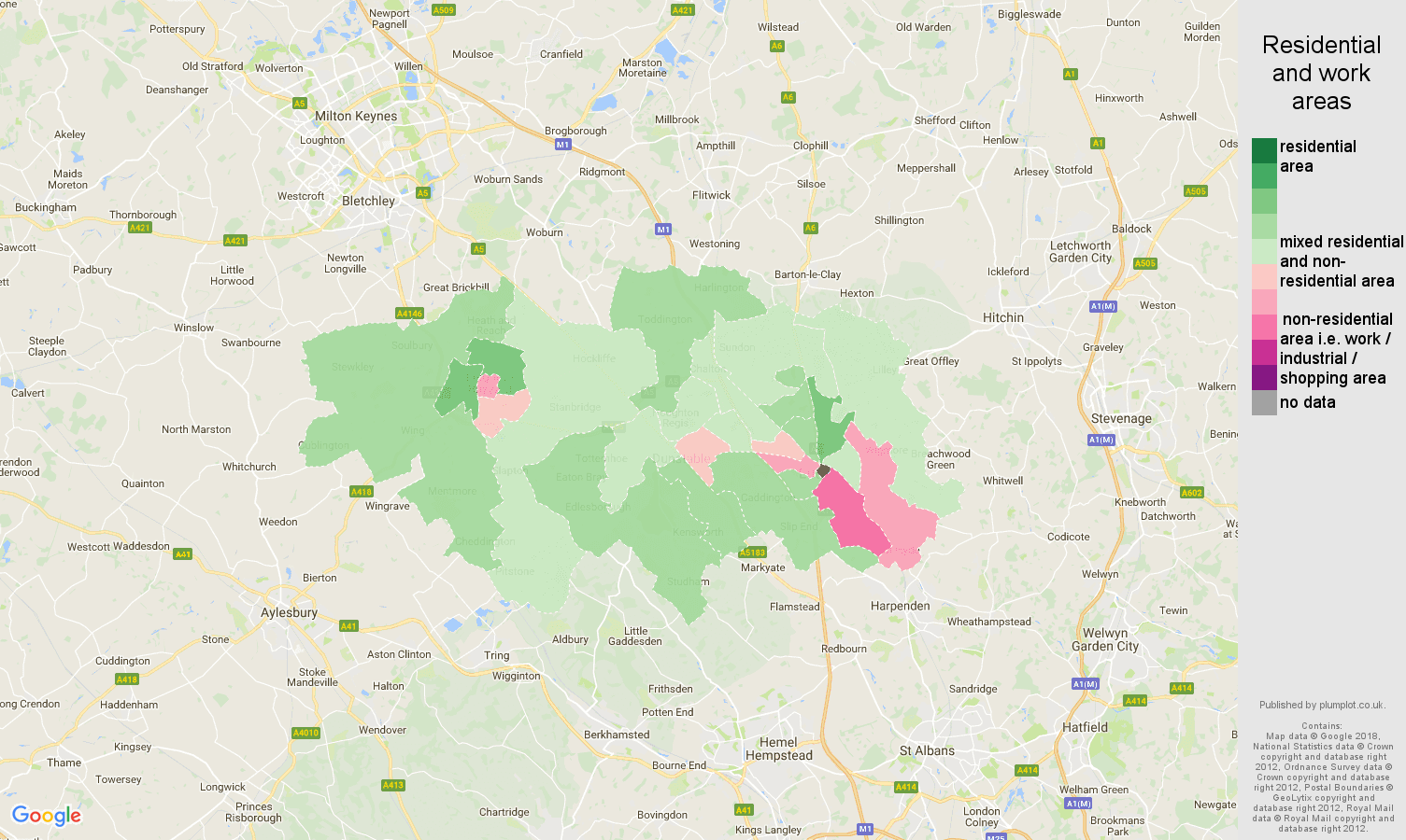 Luton residential areas map