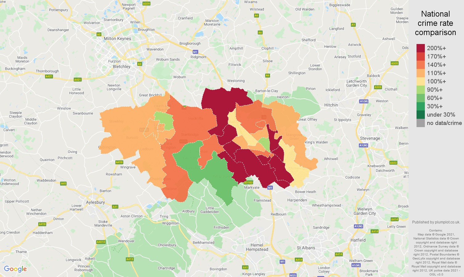 Luton vehicle crime rate comparison map