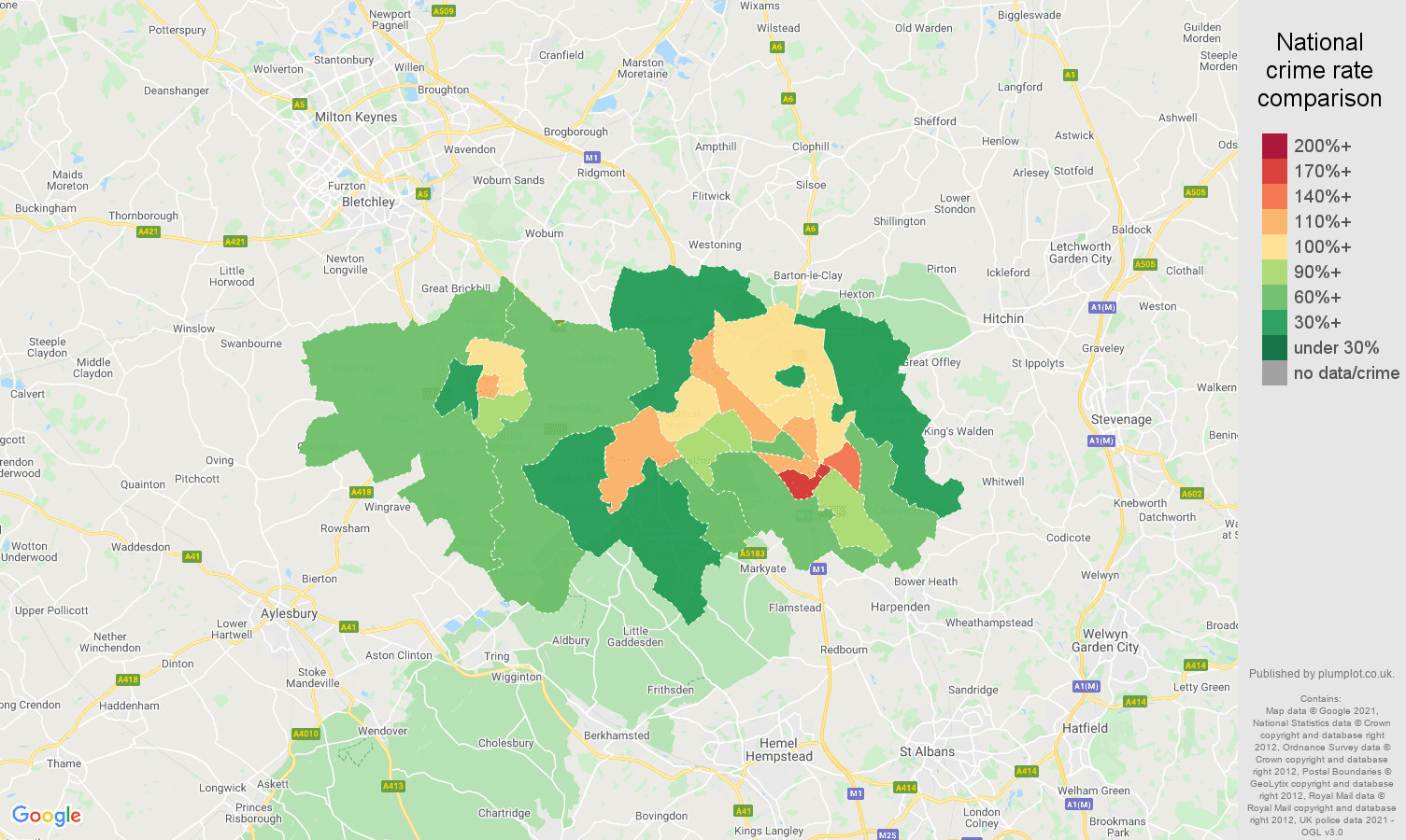 Luton violent crime rate comparison map