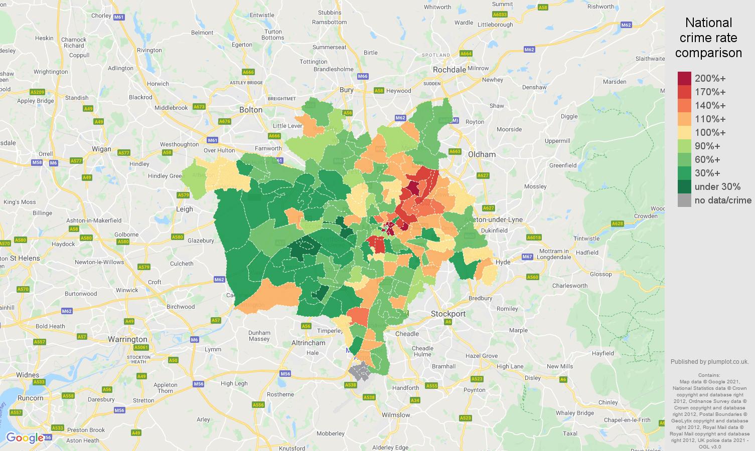 Manchester antisocial behaviour crime rate comparison map
