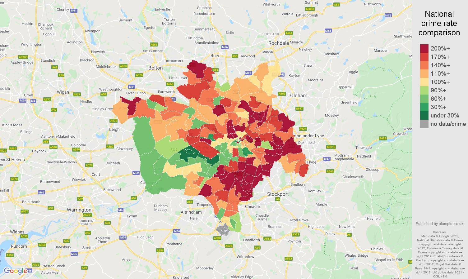 Manchester burglary crime rate comparison map