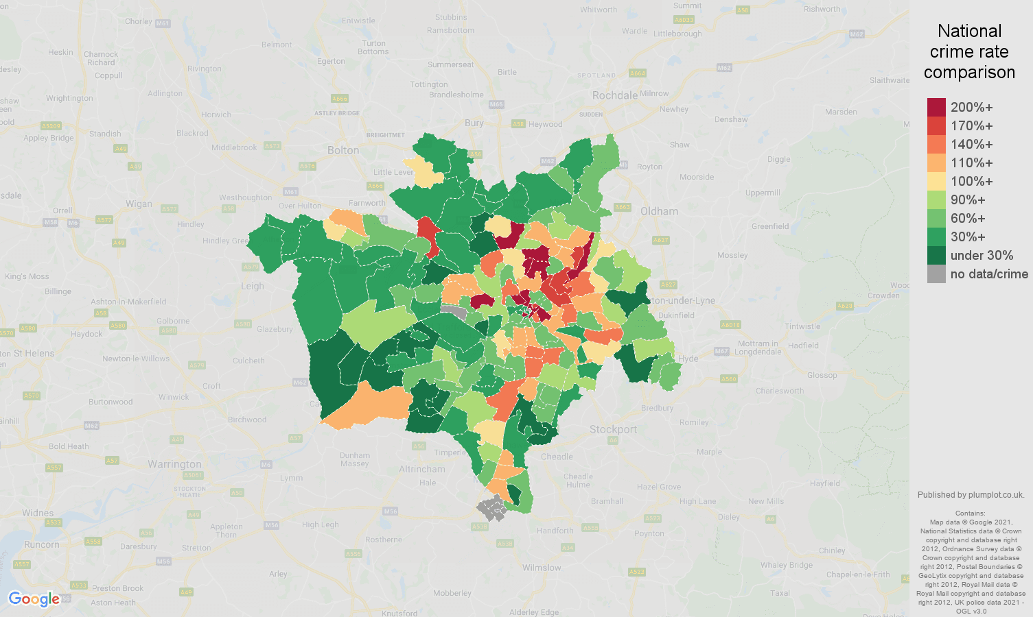 Manchester drugs crime rate comparison map
