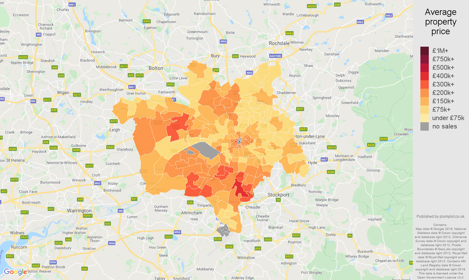 Manchester house prices map