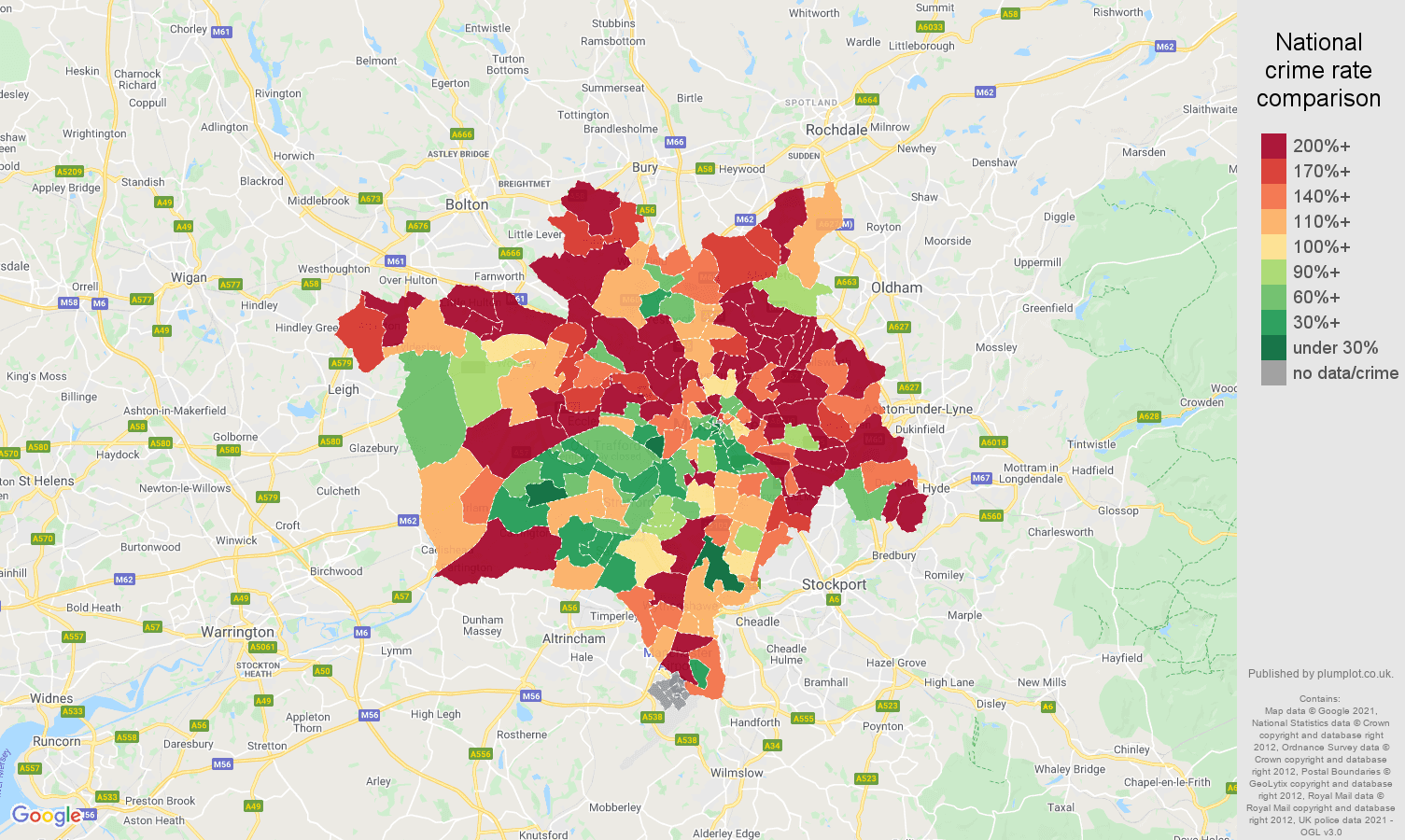 Manchester other crime rate comparison map