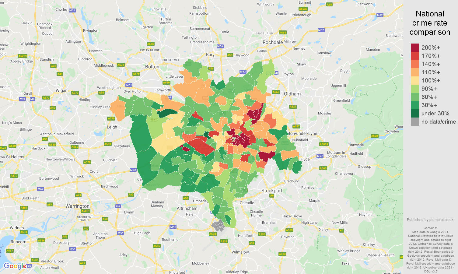 Manchester other theft crime rate comparison map