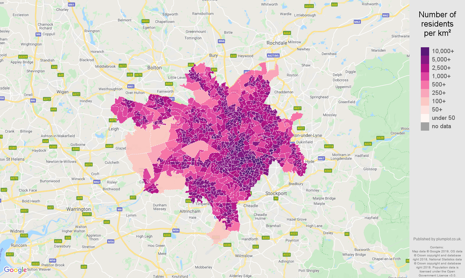 Manchester population density map