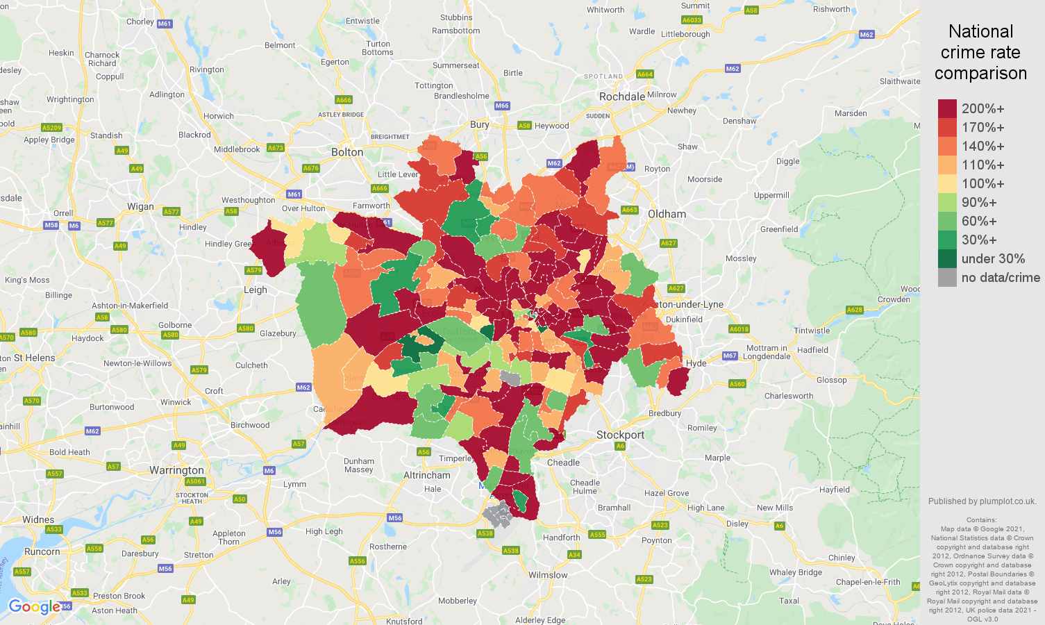 Manchester possession of weapons crime rate comparison map