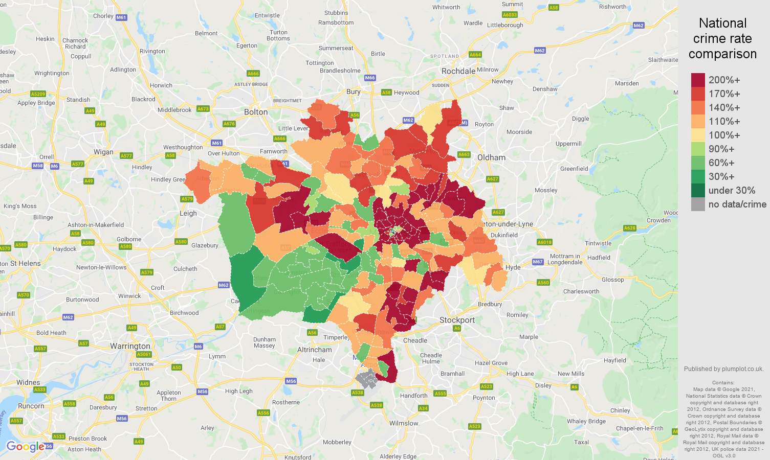 Manchester vehicle crime rate comparison map