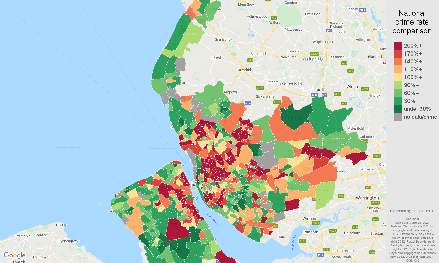Merseyside criminal damage and arson crime rate comparison map