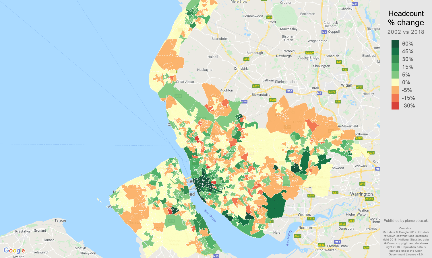 Merseyside headcount change map