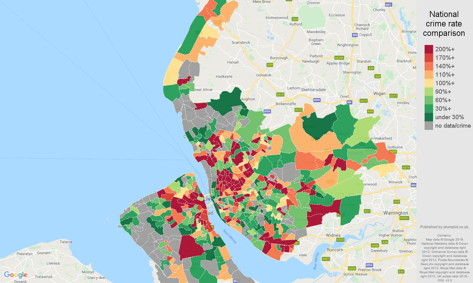 Merseyside other crime rate comparison map
