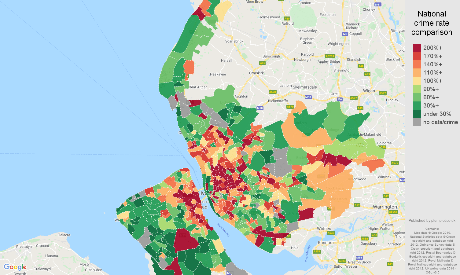 Merseyside public order crime rate comparison map