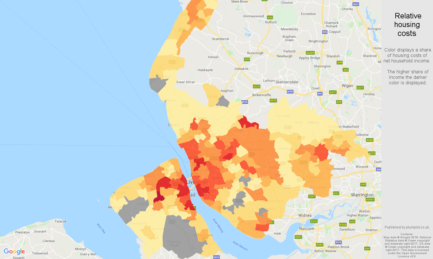 Merseyside relative housing costs map