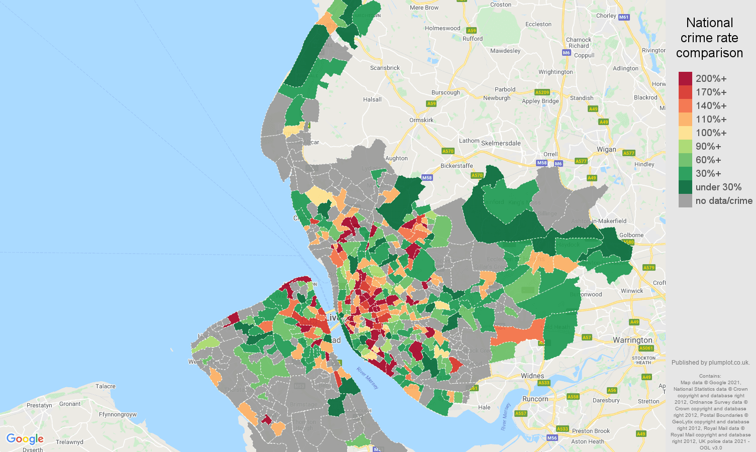 Merseyside robbery crime rate comparison map