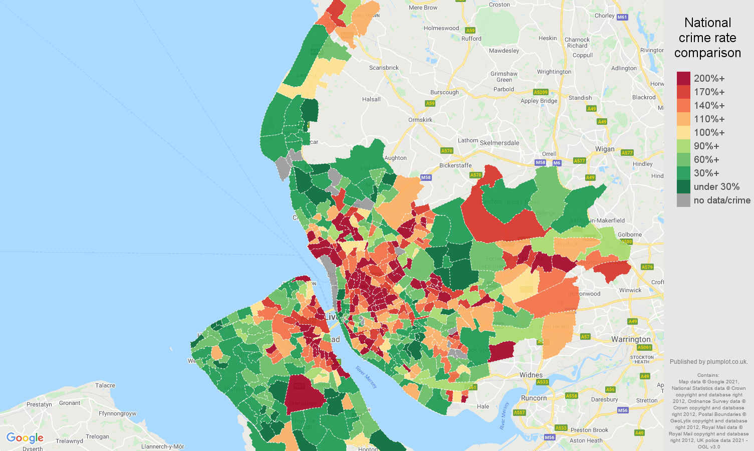 Merseyside violent crime rate comparison map