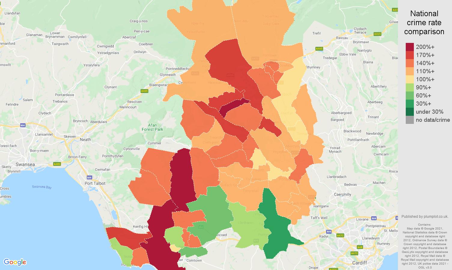 Mid Glamorgan antisocial behaviour crime rate comparison map