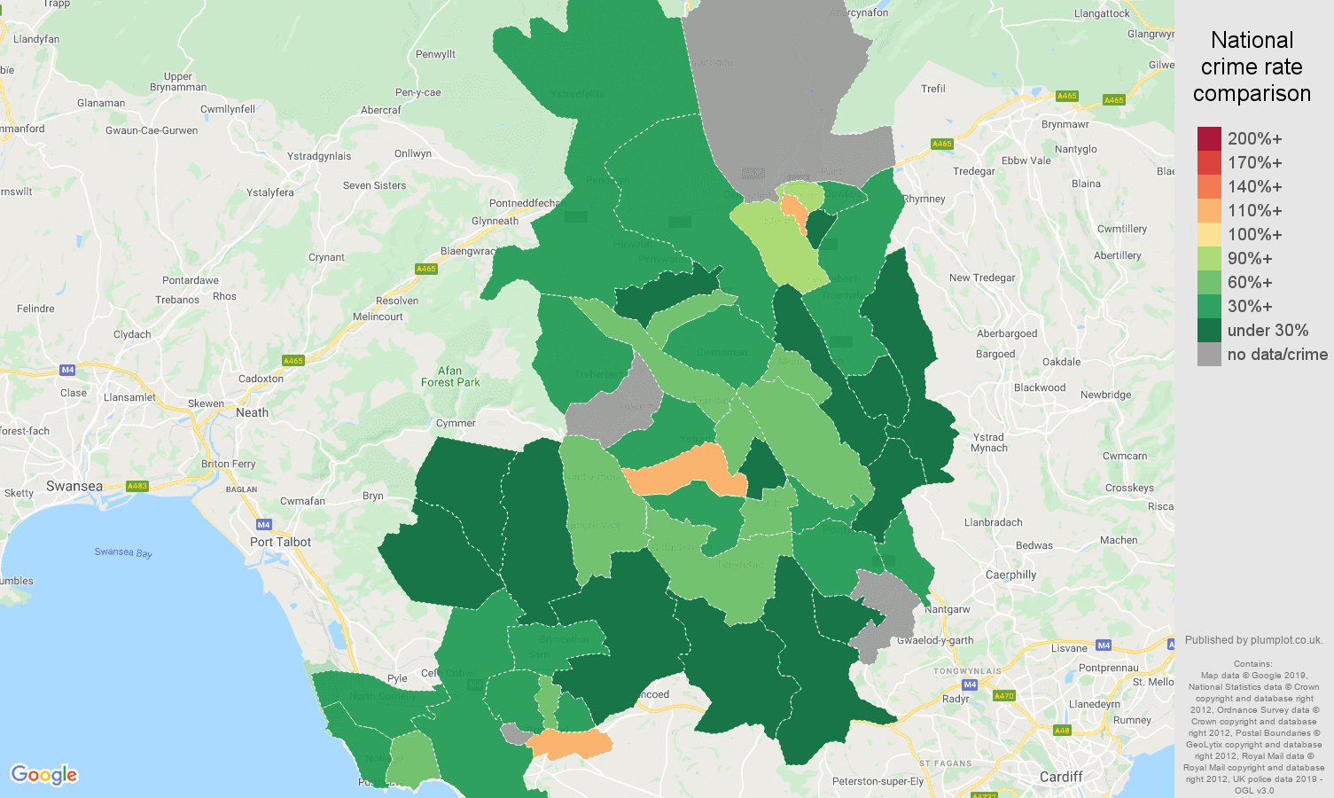 Mid Glamorgan possession of weapons crime rate comparison map