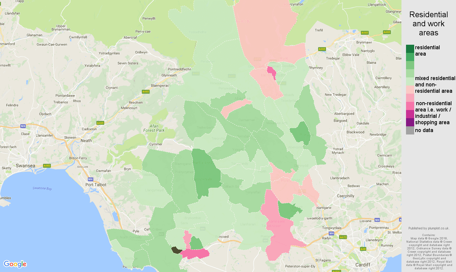 Mid Glamorgan residential areas map