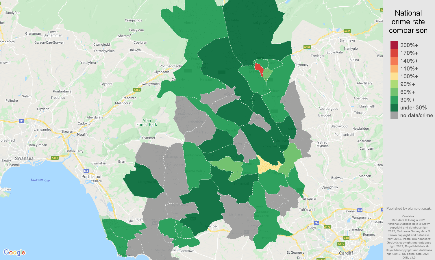 Mid Glamorgan theft from the person crime rate comparison map