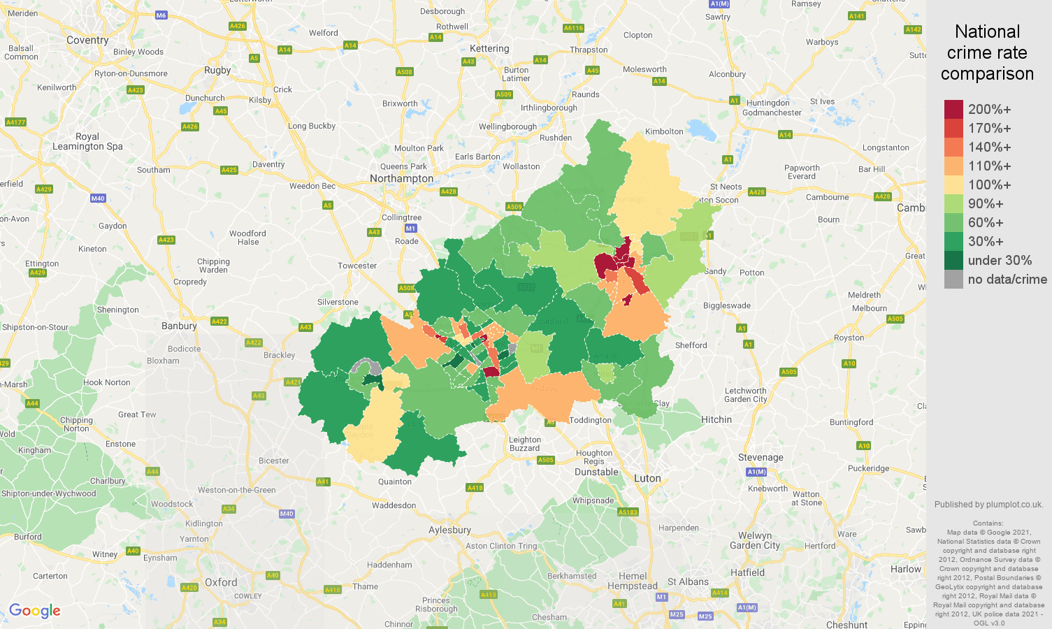 Milton Keynes burglary crime rate comparison map