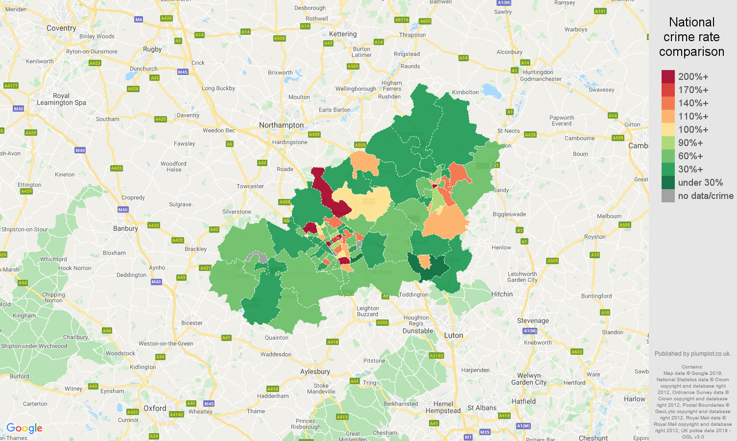 Milton Keynes other theft crime rate comparison map