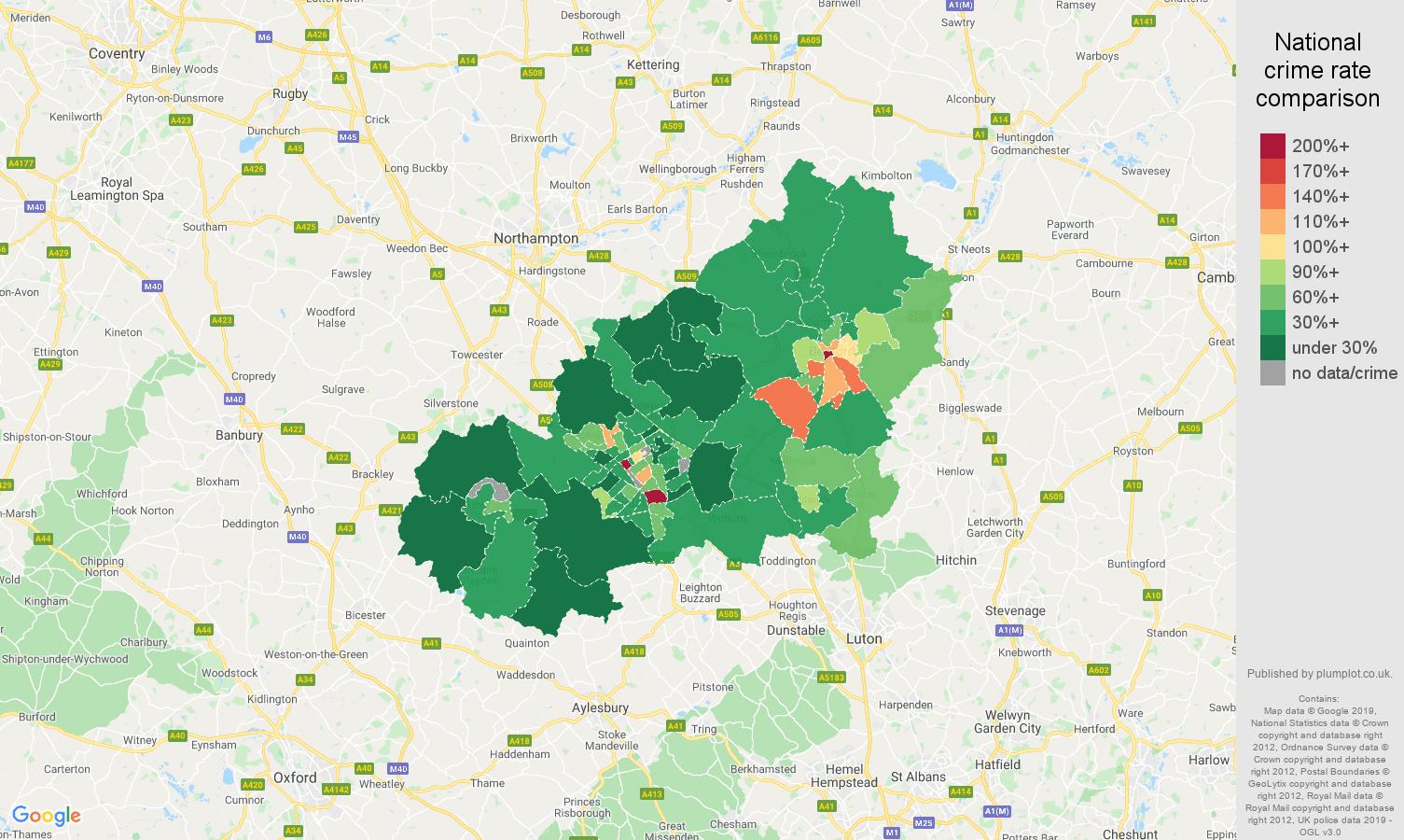 Milton Keynes public order crime rate comparison map