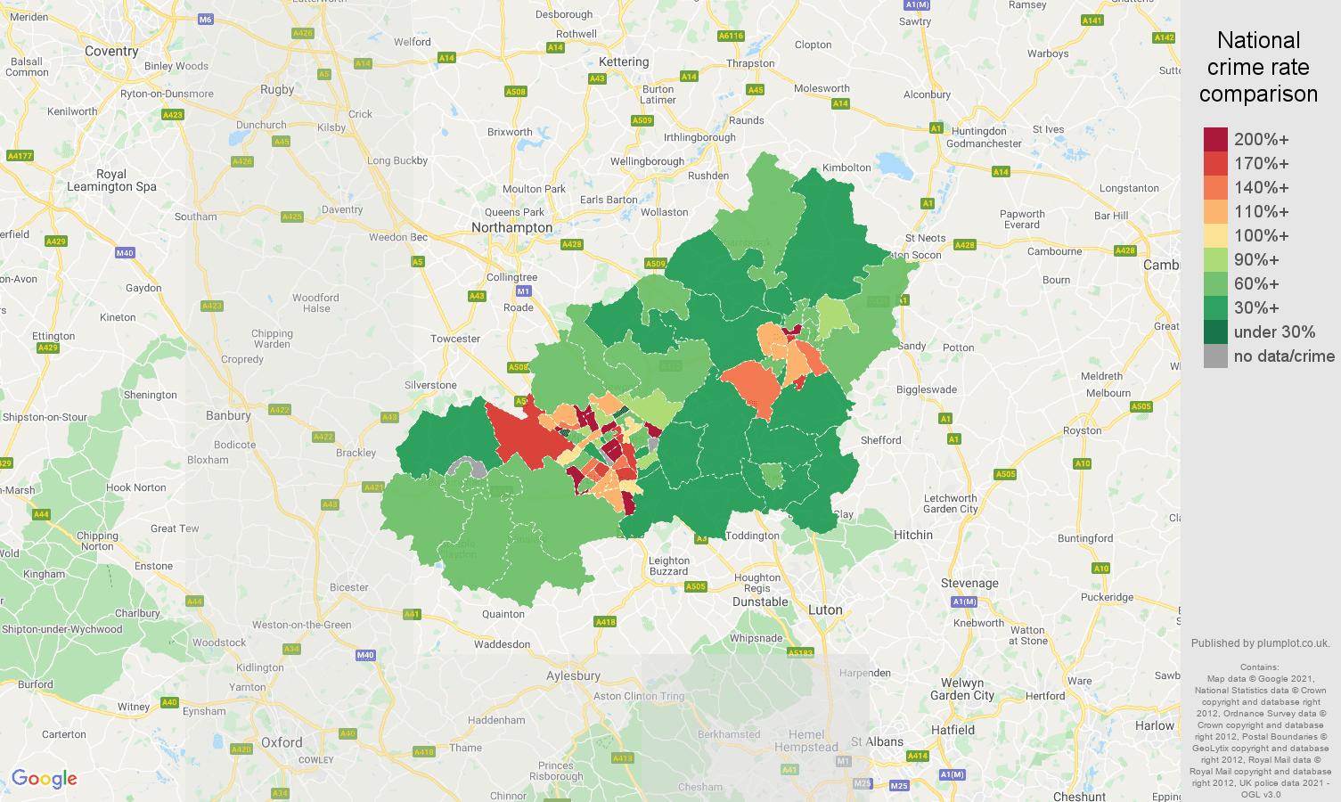 Milton Keynes violent crime rate comparison map
