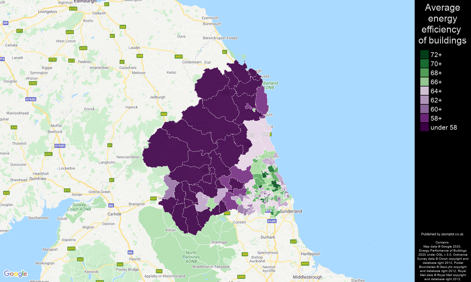 Newcastle upon Tyne map of energy efficiency of properties