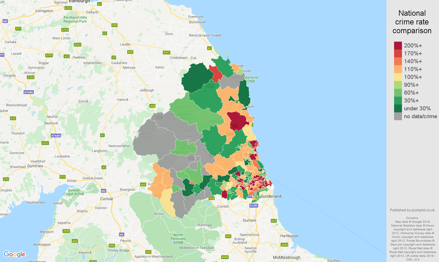 Newcastle upon Tyne other crime rate comparison map