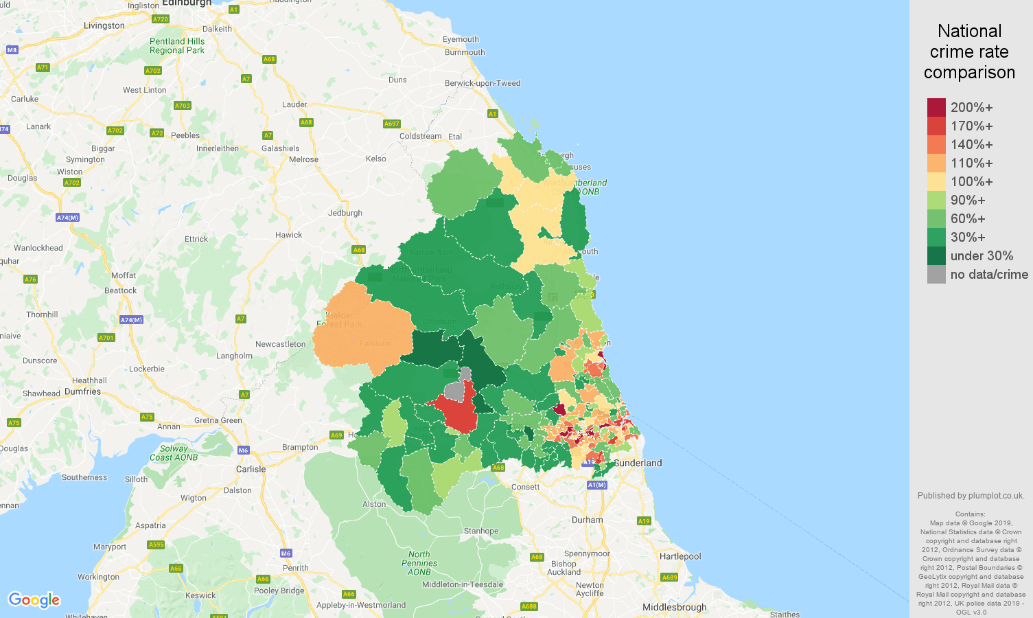 Newcastle upon Tyne other theft crime rate comparison map