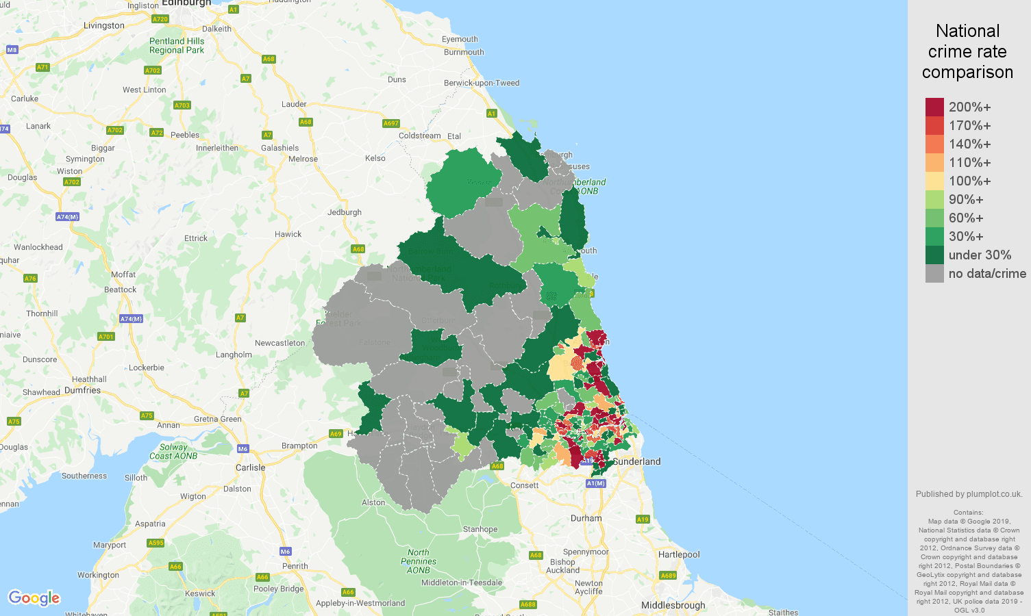 Newcastle upon Tyne shoplifting crime rate comparison map