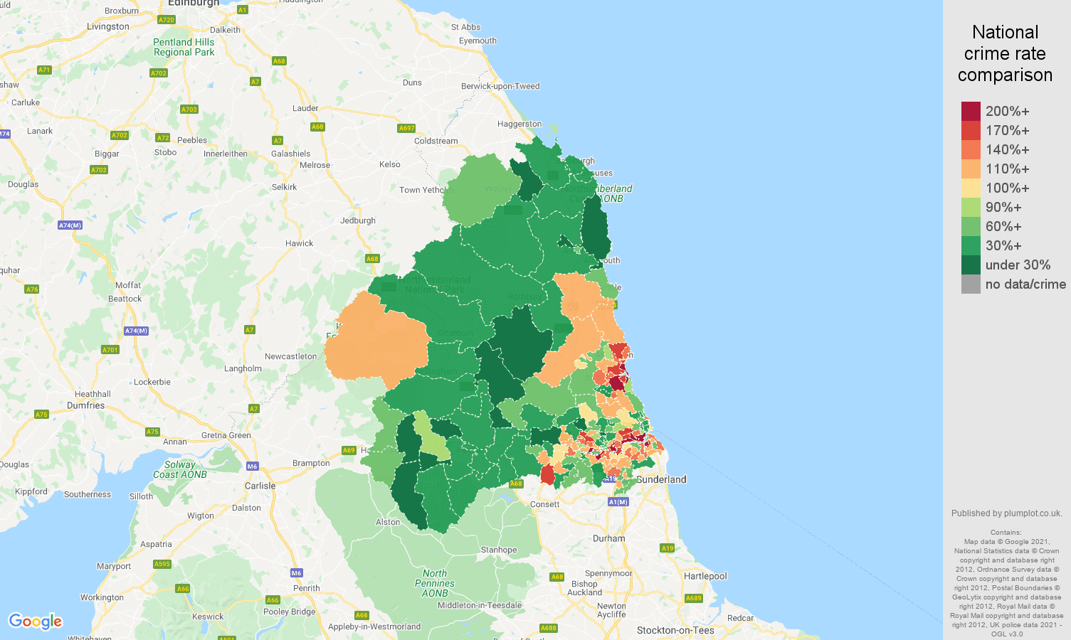 Map Of Uk Newcastle.Newcastle Upon Tyne Violent Crime Statistics In Maps And Graphs