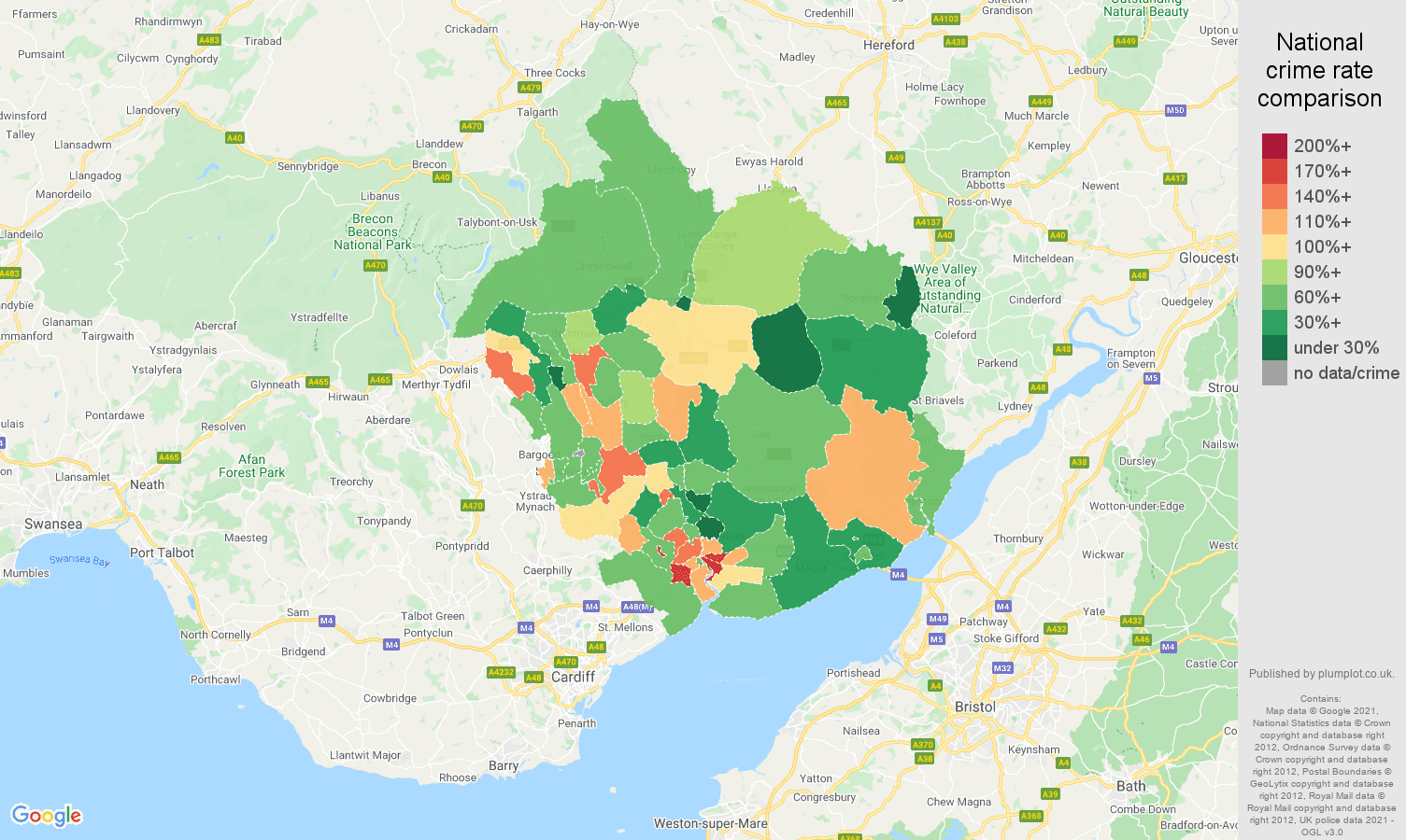 Newport burglary crime rate comparison map