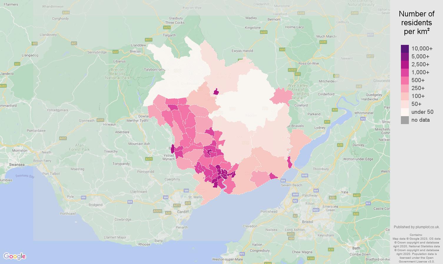 Newport population density map