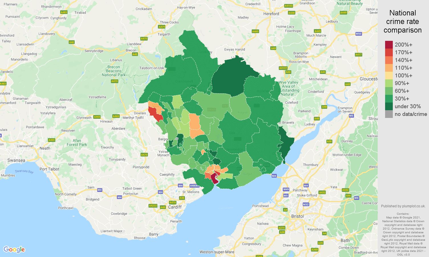 Newport vehicle crime rate comparison map