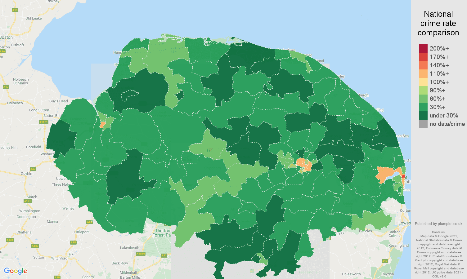 Norfolk antisocial behaviour crime rate comparison map