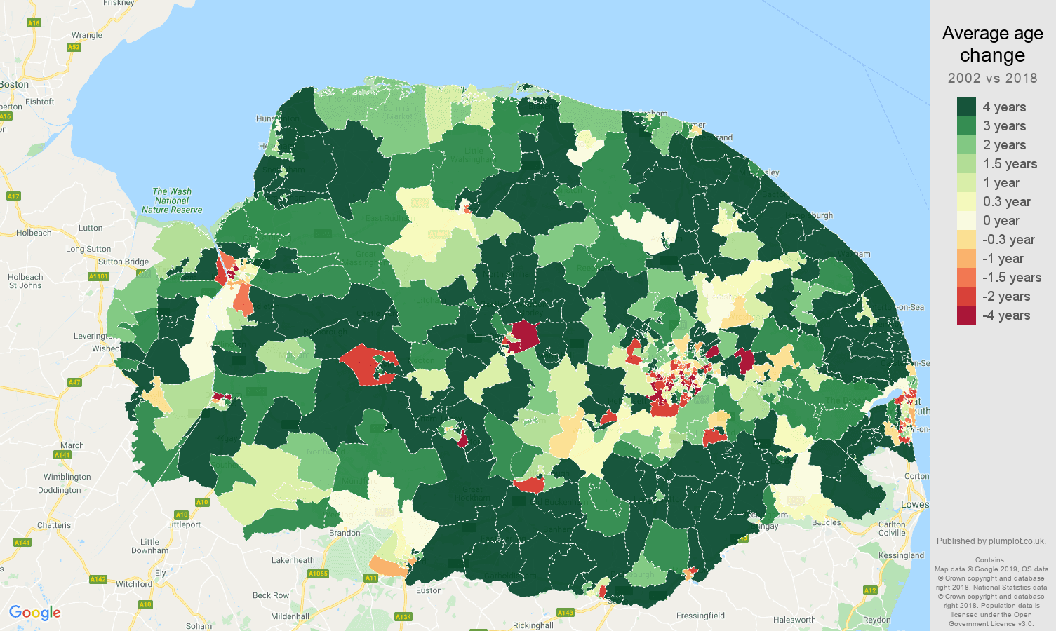 Norfolk average age change map