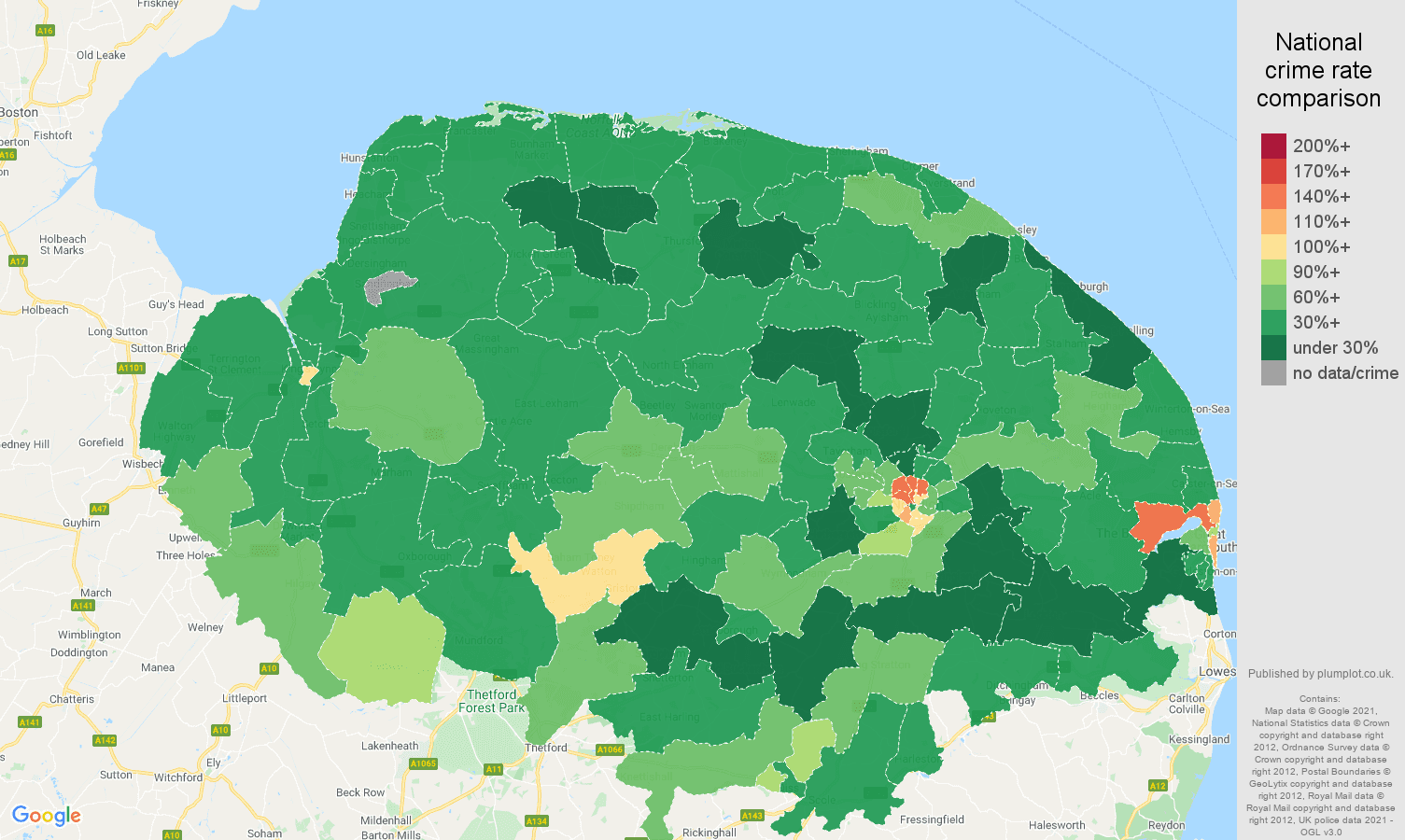 Norfolk burglary crime rate comparison map