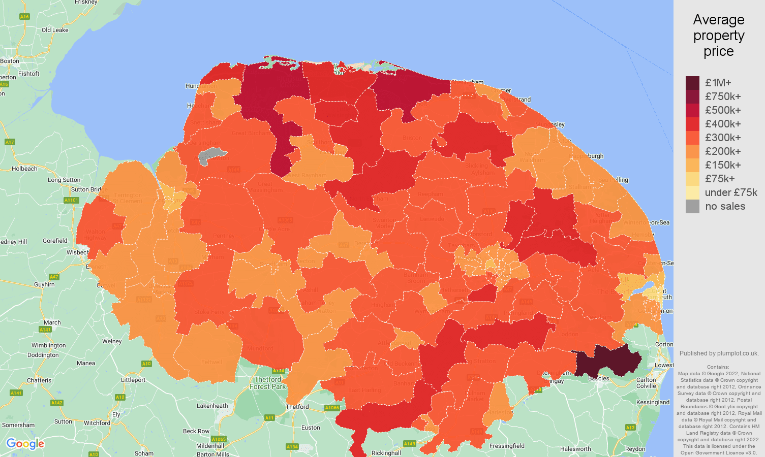Norfolk house prices map