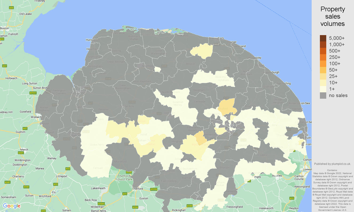 Norfolk map of sales of new properties