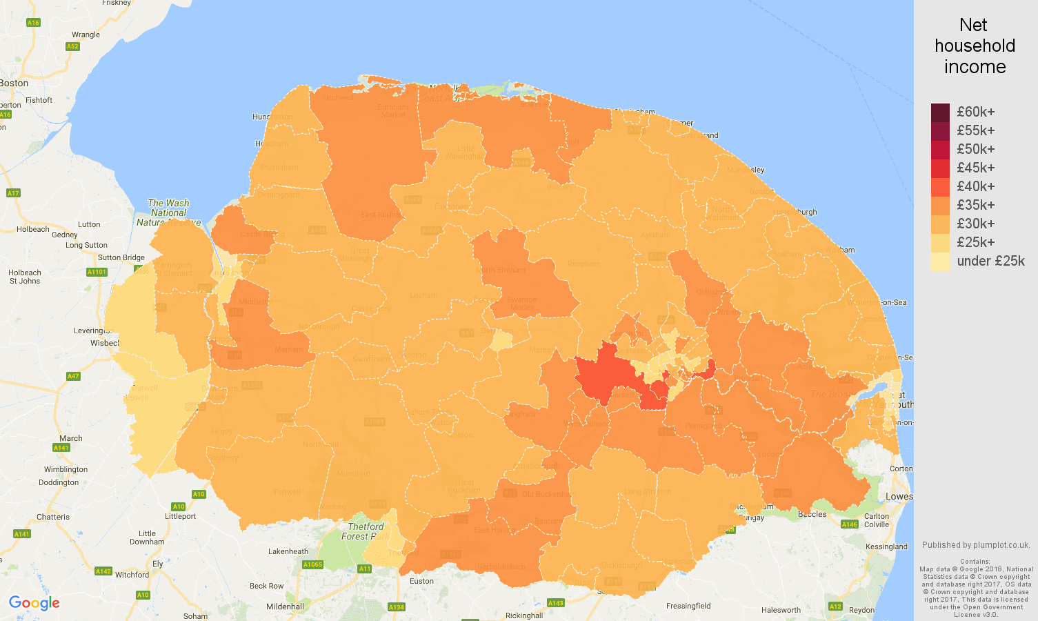 Norfolk net household income map