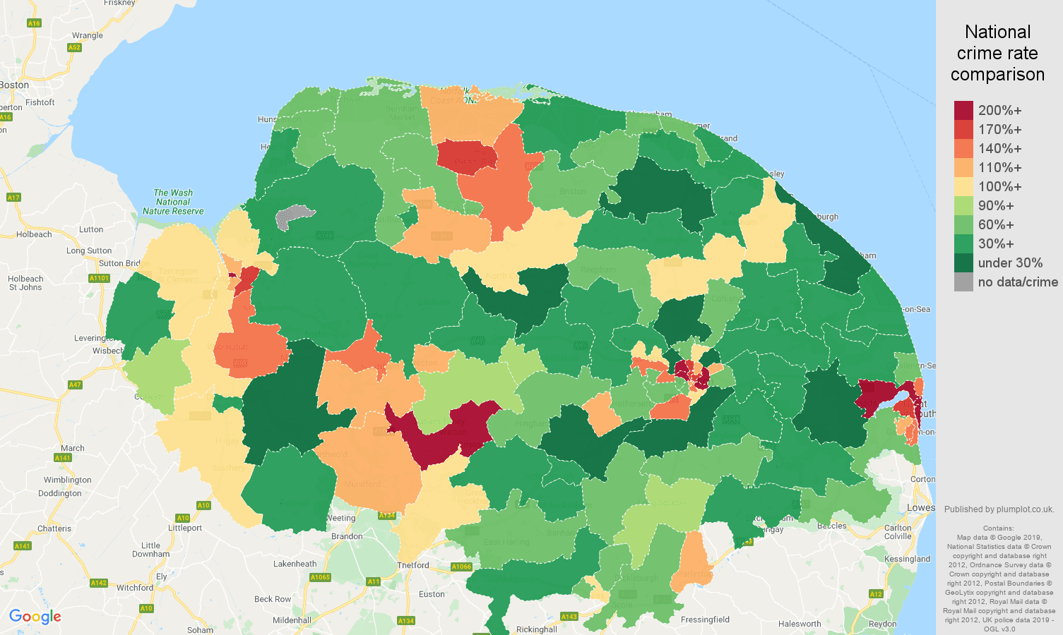 Norfolk other crime rate comparison map