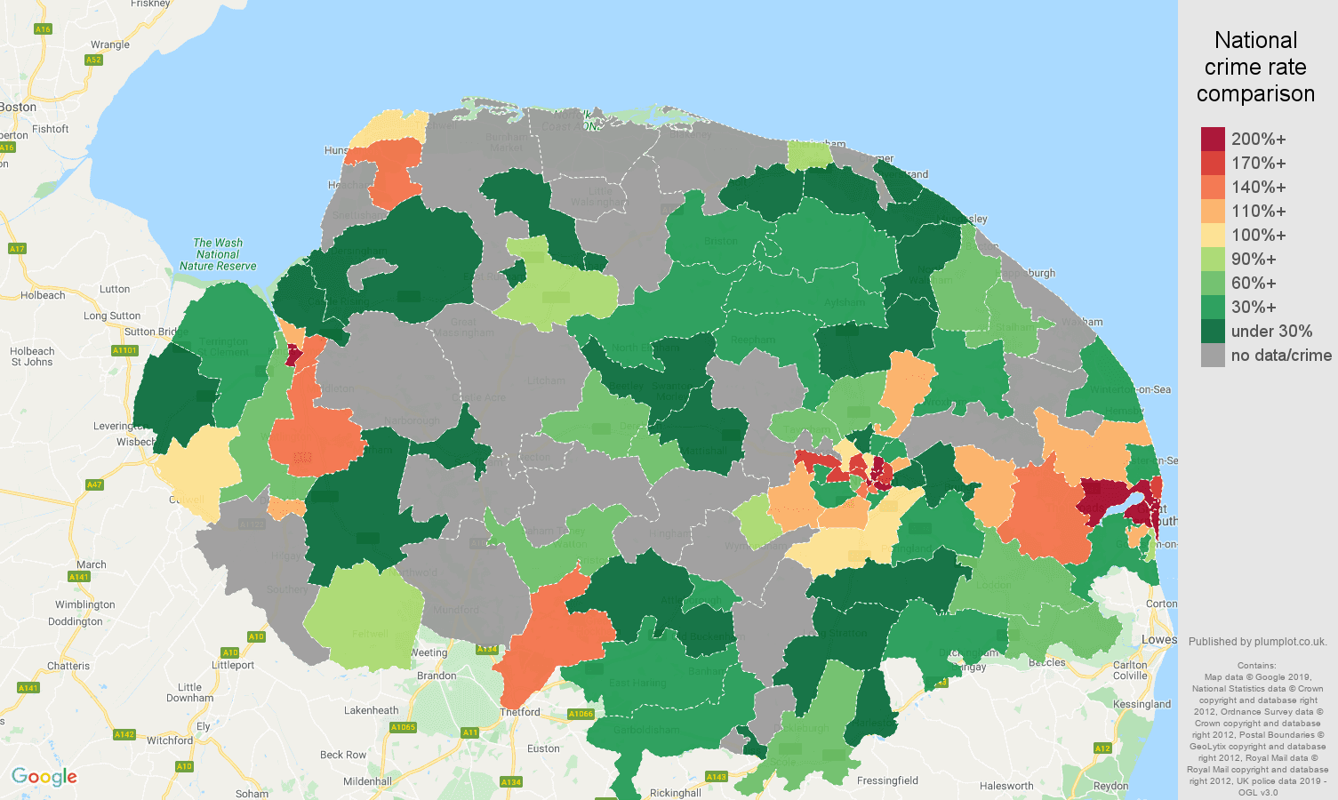 Norfolk possession of weapons crime rate comparison map