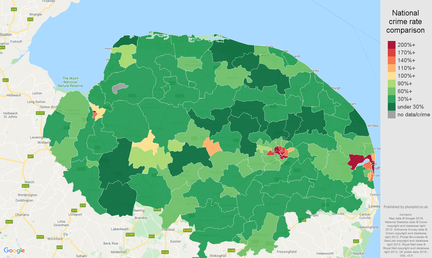 Norfolk public order crime rate comparison map